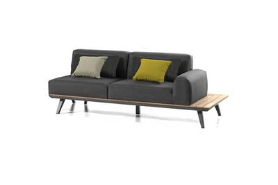 Canapé 2p accoudoir gauche en alu et teck anzio