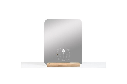 B008109 Miroir rectangulaire connecté design avec support en chêne ekko