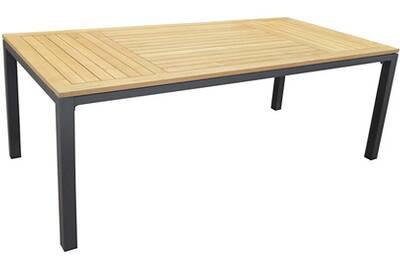 Table de jardin Proloisirs Table en aluminium et teck tempo 180 cm ...