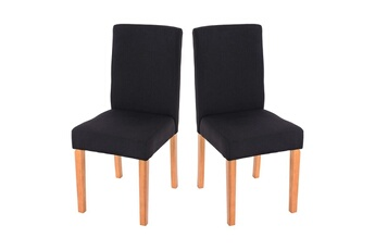 Ensemble Table Chaise Lot De 2 Chaises Salle A Manger En Tissu Noir Pieds