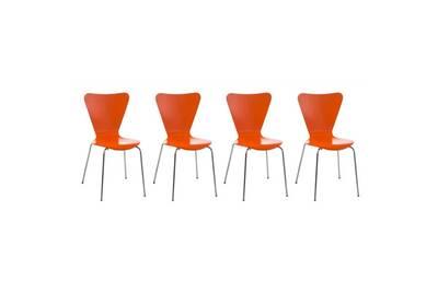 Lot de 4 chaises de séjour bureau en bois orange et métal cds10110