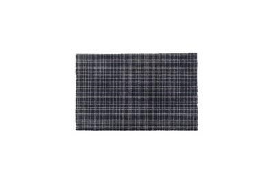Tapis d?entrée fusion dry - noir rayé beige - 50x80 cm - support vinyl  antidérapant