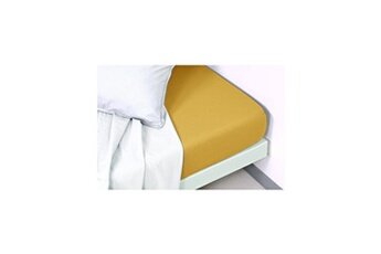 VENT DU SUD Drap housse coton lavé Palace - 160x200 cm - Curry
