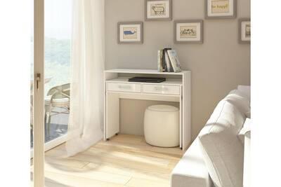 Bureau vivaldi zoom bureau console extensible blanc mat avec blanc