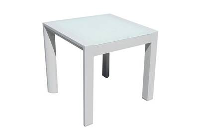 Table de jardin Idilik Table basse carrée alu blanc plateau verre ...