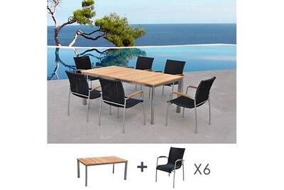 Salon de jardin Maisonetstyles Table de jardin en teck + lot de 6 ...