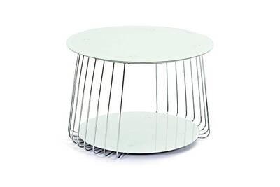 Table Basse Ronde 70 Cm En Verre Et Métal Blanc Megane