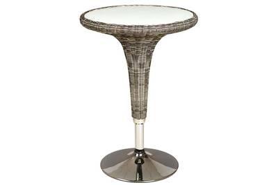 Table haute en métal et rotin synthétique