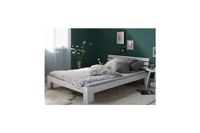 lit 1 place homestyle4u lit double en bois massif 160x200cm blanc pin lit futon a lattes cadre de lit - Cadre De Lit Bois Massif