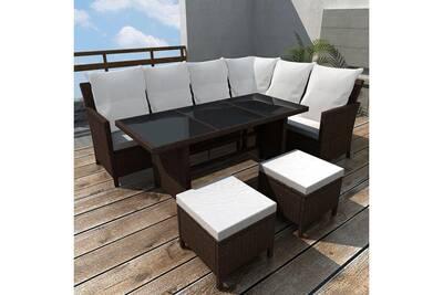 Meubles de jardin serie phnom penh mobilier de jardin 14pcs pour 8  personnes marron résine tressée