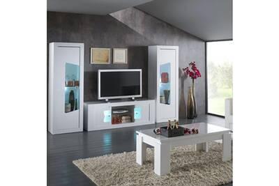 Meuble Tv Altobuy Nevada Blanc Ensemble Salon 4 Elements Avec Vitrines Darty
