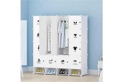 Armoires Etagères Plastiques Penderie Plastiques Meuble Rangement 16 Cubes Modulables 4 Cubes Chaussures Blanc