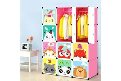 Armoire bleosan armoires etag res plastiques enfants rose 12 cubes armoires meubles de - Meuble pour ranger vetement ...
