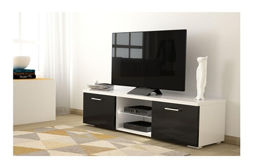 meuble tv meuble tv atlantis light eclairage led mlamin couleur blanc noir usinestreet - Meuble Tele Darty