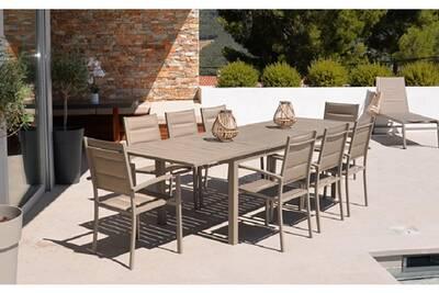 Ensemble de jardin avec 8 fauteuils en aluminium coloris taupe -pegane-