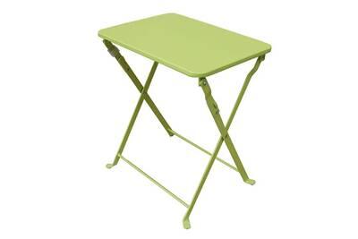 Table d\'appoint de jardin pliante coloris vert anis - dim : 40 x 35 x 45 cm  -pegane-