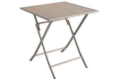 Table de jardin en aluminium carré coloris taupe mat - dim : 70 x 70 x 72cm  -pegane-