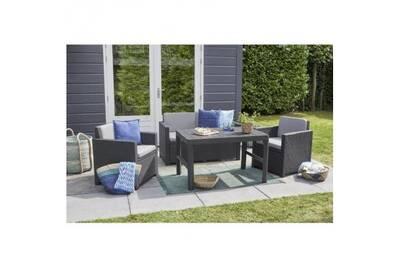 Allibert jardin salon de jardin 4 places monaco lyon imitation résine  tressée avec table 2 positions - graphite