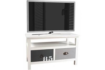 Meuble TV Comforium Meuble tv vintage blanc et gris en bois mdf et ...