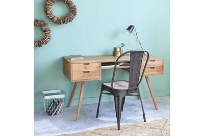 Bureau bois dessus bois dessous bureau en bois de teck 4 tiroirs darty