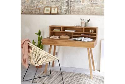 Bureau bois dessus bois dessous bureau en bois de teck darty