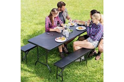 Table de jardin Ht Table pliante 180cm valise + 2 bancs camping ...