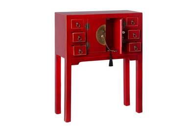 Petit Meuble Tousmesmeubles Console 2 Portes 6 Tiroirs Rouge Meuble Chinois Pekin L 63 X L 26 X H 80 Neuf Darty