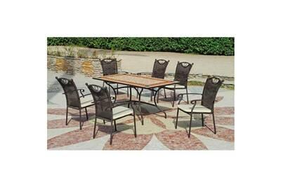 Ensemble robel20 - 1 table 200 tons brique et beige + 6 fauteuils resine  tressee