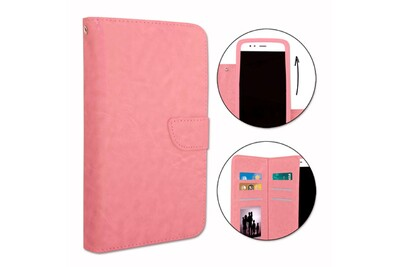 Etui housse folio pour wiko u feel prime format portefeuille en éco-cuir rose avec double clapet intérieur porte cartes, fermeture magnétique et ...