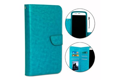Etui housse folio pour huawei y5 ii 4g format portefeuille en éco-cuir turquoise avec double clapet intérieur porte cartes, fermeture magnétique et ...