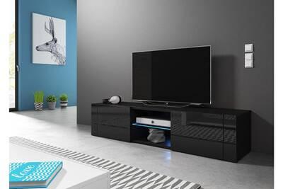 meilleure sélection cf62a b8a39 Hit meuble tv design noir mat avec noir brillant. Eclairage à la led bleue.