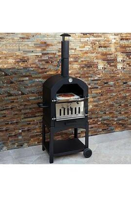 Kukoo Kukoo - four à pizza extérieur au feu de bois avec pelle, roulette et pierre à pizza, four de jardin 156cm x 64cm x 43cm