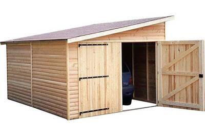 Garage En Bois Avec Porte Double 1 Pente Kompact 6 M