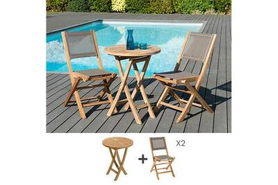 Salon de jardin Maisonetstyles Ensemble table ronde 60 cm + 2 ...