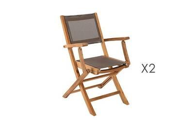 Salon de jardin Maisonetstyles Lot de 2 fauteuils pliants en teck et ...