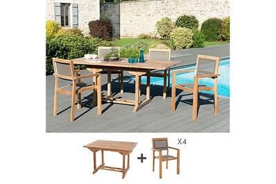 Ensemble table 120 cm + 4 fauteuils en teck et textilène - gardena