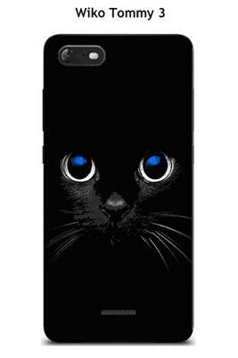 Coque tpu gel souple wiko tommy 3 design chat noir