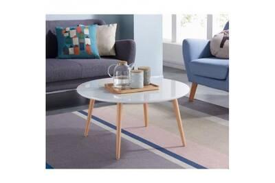 Table Basse Style Scandinave En Mdf Laque Blanc Brillant L 80 X L 80 Cm