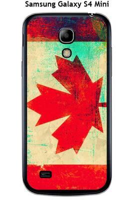 Coque samsung galaxy s4 mini design drapeau canada vintage effet métallisé