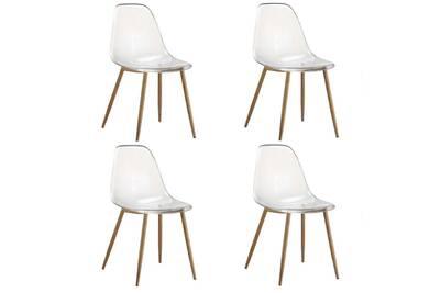 fauteuil bureau inside 75 lot de 4 chaises design scandinave osana en polycarbonate transparent - Fauteuil Scandinave Transparent