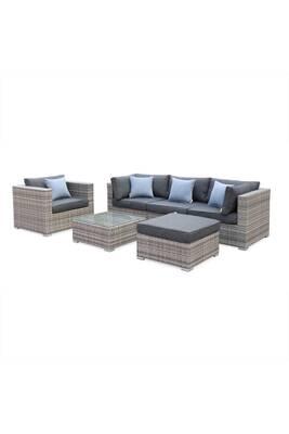 Salon de jardin caligari 5 places en résine tressée, nuances de gris,  coussins gris et coussins déco bleu grisé