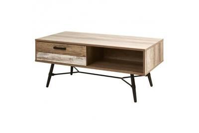 Fidji Table Basse Style Industriel Décor Chene Pieds En Métal Noir L 120 X L 59 Cm