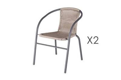 Salon de jardin Maisonetstyles Lot de 2 chaises de jardin en rotin ...