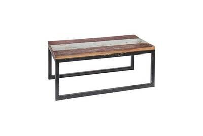 Table basse 90 cm en teck recyclé et fer