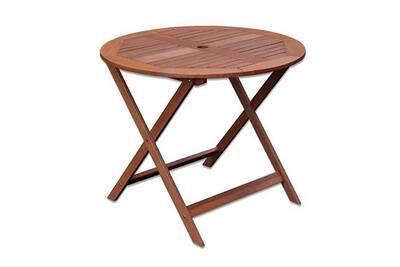 Table de jardin ronde pliable 90x90x76 cm en bois naturel
