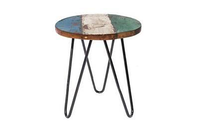 Table d\'appoint ronde 40 cm en teck recyclé et fer