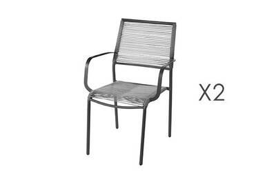 Lot de 2 chaises de jardin empilables 62,5x55x84 cm en acier gris