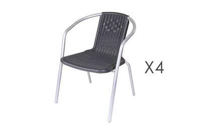 Lot de 4 chaises de jardin en plastique noir et acier gris