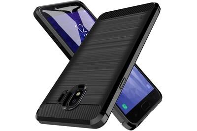 Samsung galaxy j4 2018 coque etui protection renforcé tpu (2 en 1) hybride antichoc armor - [fibre de carbonne] noir