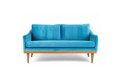 Canape 2 Places Velours Bleu Hershel L 140 X L 76 X H 68 Neuf